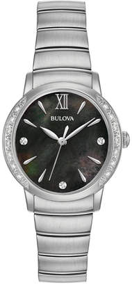 Bulova Women's Diamond Accent Stainless Steel Bracelet Watch 28mm 96R213