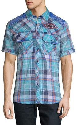 Affliction Men's Lagoon CHeck Short Sleeve Shirt