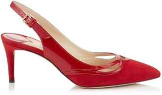 Jimmy Choo HARRISON 65 Red Suede and Patent Pointy Toe Pumps