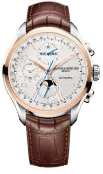 Baume & Mercier Clifton 10280 Chronograph and Complete Calendar Two-Tone and Alligator Strap Watch