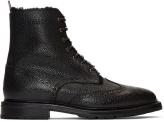 Thom Browne Black Shearling Lining Wingtip Boots