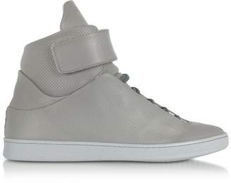 Ylati Virgilio Grey Perforated Nappa Leather High Top Men's Sneakers