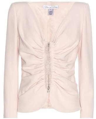 Oscar de la Renta Virgin wool-blend crêpe jacket