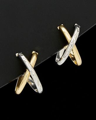 Italian Gold 14K Two-Tone X Hoop Earrings