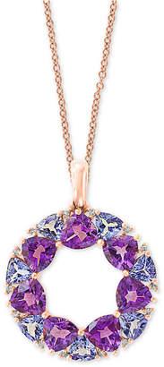 "Effy Multi-Gemstone (4-1/4 ct. t.w.) & Diamond Accent Wreath 18"" Pendant Necklace in 14k Rose Gold"