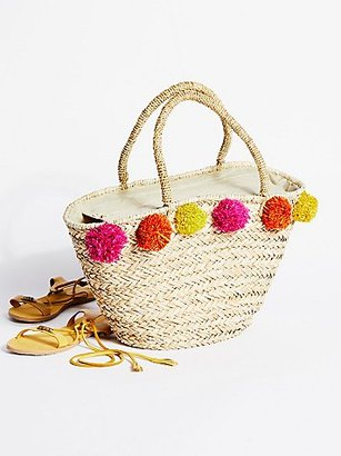 Poms All Around Straw Tote by Gracie Roberts at Free People $48 thestylecure.com