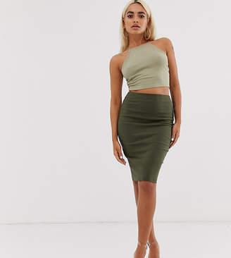 Asos DESIGN Petite high waisted pencil skirt in khaki