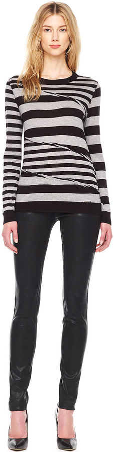 Michael Kors Wrapped Mix-Stripe Top