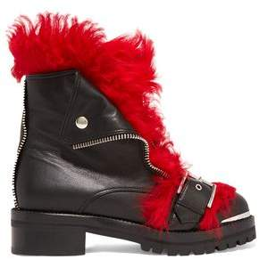 Alexander McQueen Shearling-trimmed Leather Ankle Boots