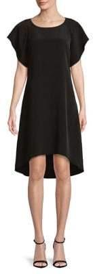 Halston H Hi Low Hem Dress with Ruffle Overlay