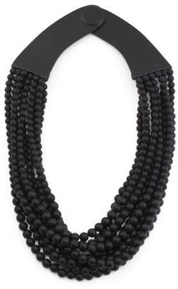 Handmade In Italy Leather Oval Beaded Multi Row Necklace