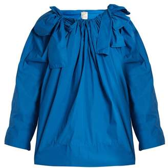 Maison Rabih Kayrouz Scoop Neck Bow Detail Paper Taffeta Top - Womens - Blue
