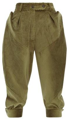 Symonds Pearmain - Panelled Cotton Corduroy Cropped Trousers - Womens - Khaki