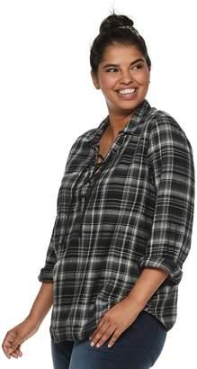 Mudd Juniors' Plus Size Plaid Lace-Up Flannel Shirt