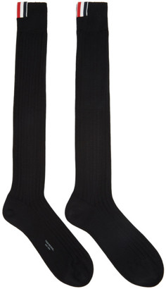 Thom Browne Black Ribbed Knee-High Socks $80 thestylecure.com