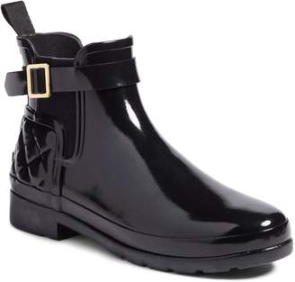 Hunter Refined Quilted Gloss Chelsea Boot