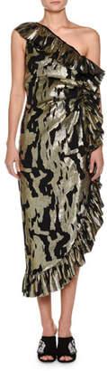 ATTICO One-Shoulder Metallic-Chiffon Ruffled Cocktail Dress