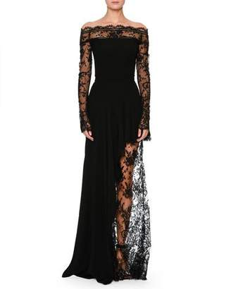 Alexander McQueen Off-the-Shoulder Lace Illusion Column Evening Gown