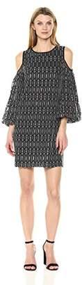 Maggy London Women's Novelty Geo Lace Cold Shoulder Dress