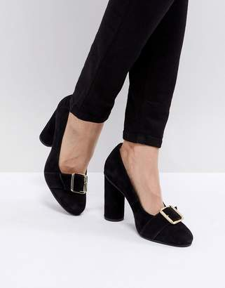 Selected Suede Round Toe Court Shoe With Buckle