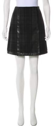 Ralph Lauren Black Label Wool Leather Trim Mini Skirt w/ Tags