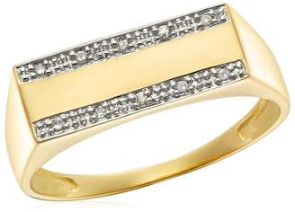 Fine Jewellery 10K Gold and .05 CT. T.W. Diamond Studded Signet Ring