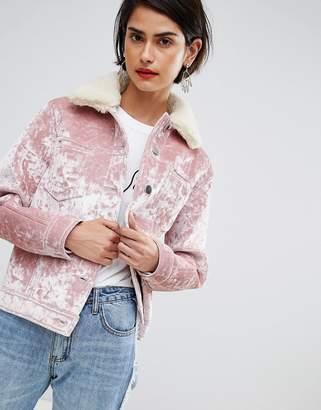 Asos DESIGN velvet pocket detail jacket