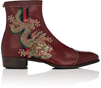 Gucci Men's Embroidered Leather Side-Zip Boots