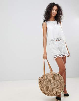 Brave Soul Daisy Crochet Shorts With Tassle Trim