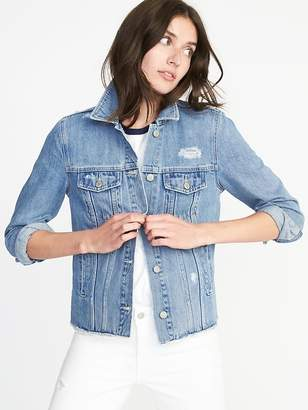 Old Navy Distressed Raw-Edged Denim Jacket for Women