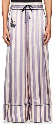 Off-White Women's Striped Satin Wide-Leg Pants