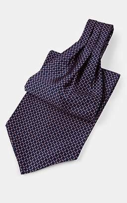 Barneys New York Men's Crosshatch-Pattern Silk Satin Ascot - Navy