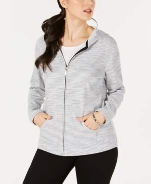 Karen Scott Striped Zippered Hoodie, Created for Macy's