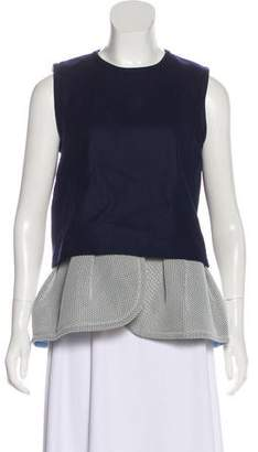 Mother of Pearl Mesh-Accented Wool Top