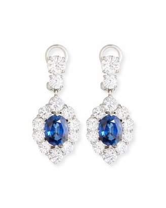 FANTASIA Synthetic Sapphire Oval Drop Earrings