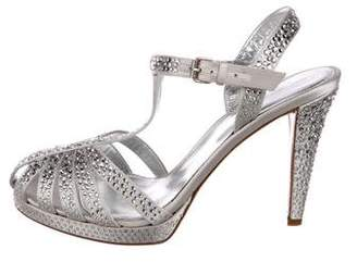Sergio Rossi Satin Embellished Sandals