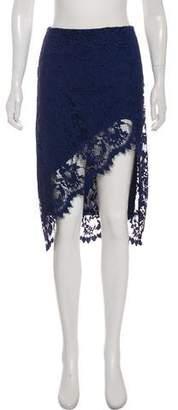 For Love & Lemons Lace-Accented Knee-Length Skirt
