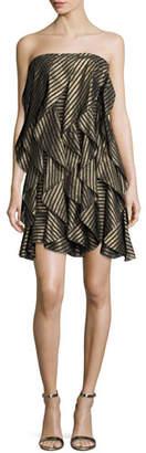 Halston Strapless Striped Metallic Flounce Cocktail Dress