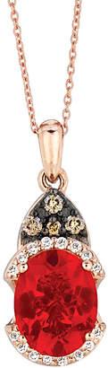LeVian Le Vian 14K Rose Gold 1.08 Ct. Tw. Chocolate & White Diamond & Fire Opal Necklace