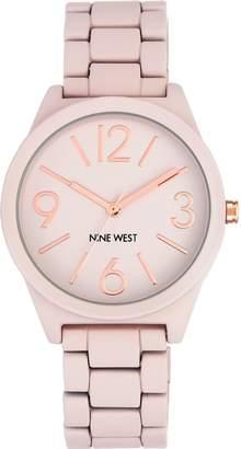 Nine West Ladies Matte Blush Pink Rubberized Bracelet Watch