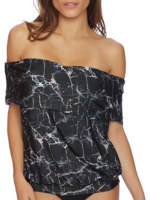 Luxe by Lisa Vogel Rock Solid Printed Off-The-Shoulder Tankini $98 thestylecure.com
