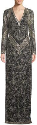 Naeem Khan Long-Sleeve Shimmer-Embroidered V-Neck Gown
