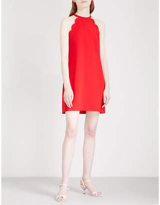 Miu Miu Scalloped halterneck crepe mini dress