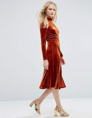 ASOS High Neck Velvet Long Sleeve Midi with Front Splices $73 thestylecure.com