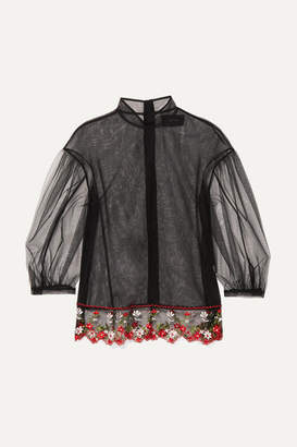 Simone Rocha Floral-embroidered Tulle Blouse - Black