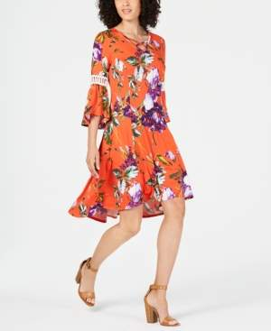 NY Collection Petite Printed Crochet-Trim Dress