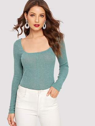 Shein Scoop Neck Rib Knit Fitted Tee
