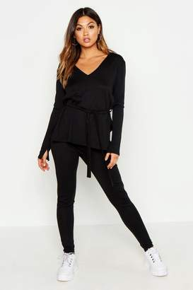 boohoo V Neck Slouchy Off The Shoulder Belted Knitted Set