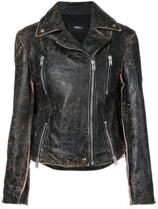 Yang Li faded finish biker jacket