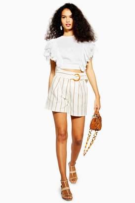 Topshop Womens Petite Belt Stripe Shorts - Ivory